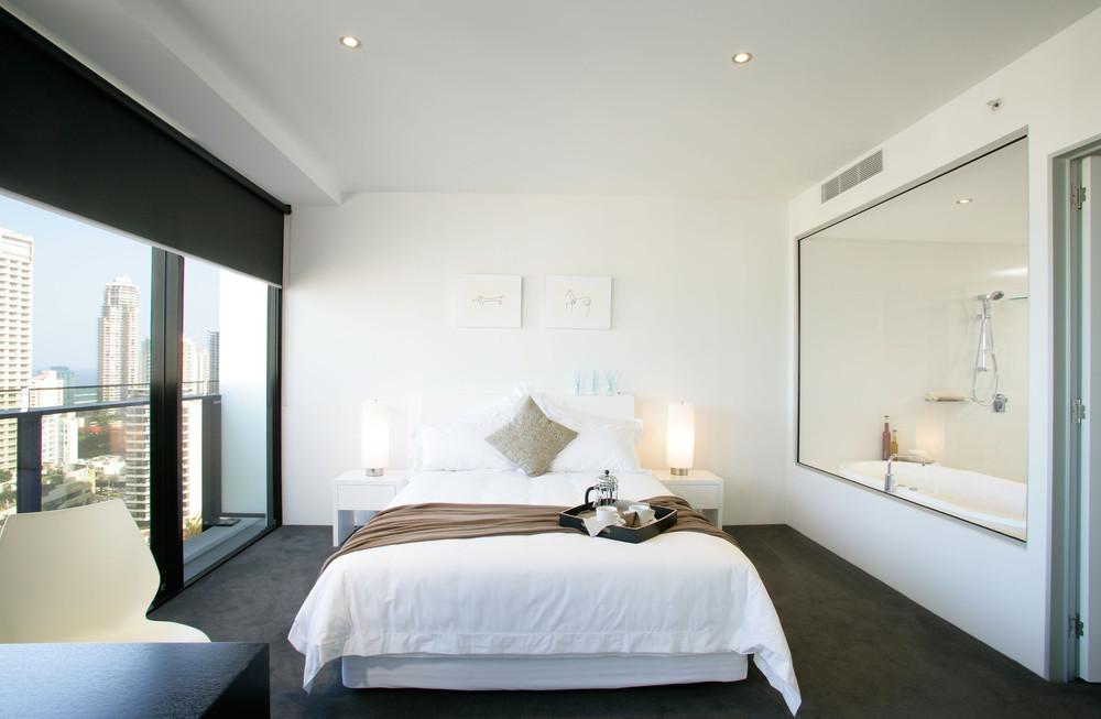 18 desain kamar tidur apartemen minimalis terbaru 2018 for Dekor kamar tidur hotel