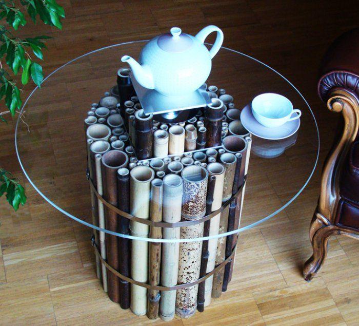 Model Meja Kaca Bambu Minimalis