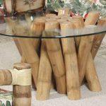 Model Meja Kaca Dari Bambu Untuk Ruang Tamu