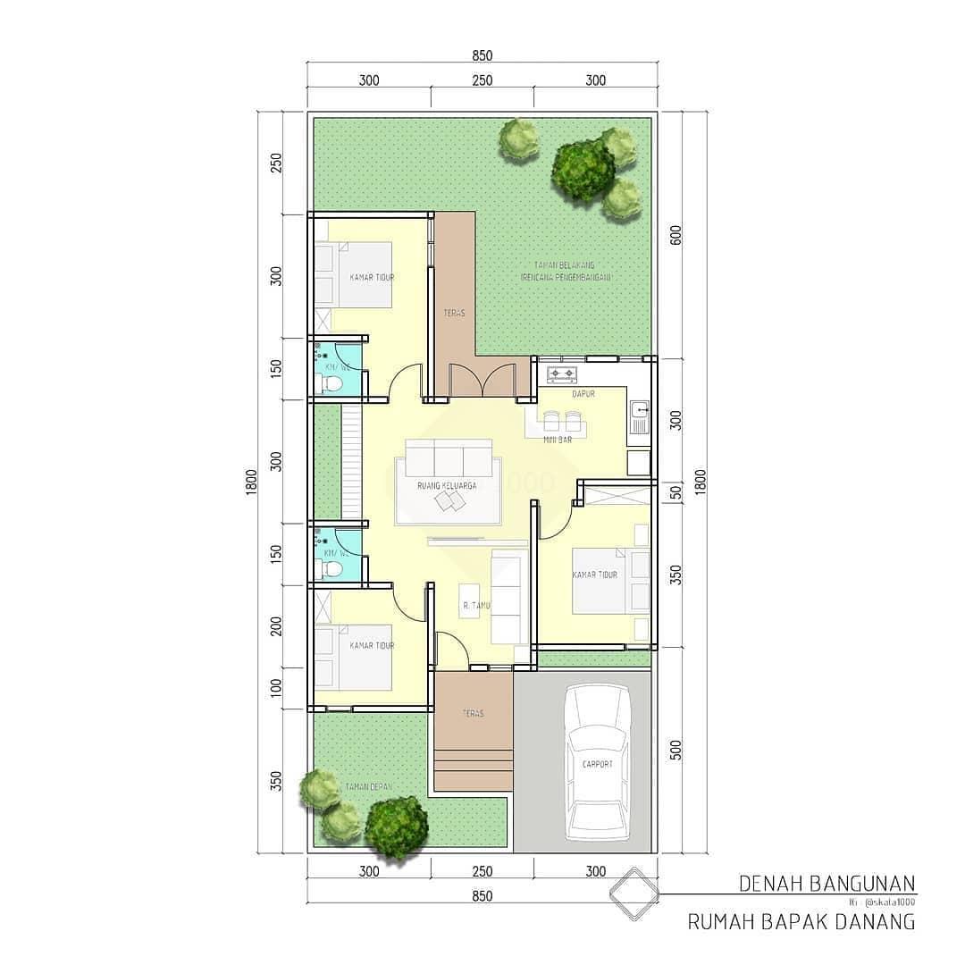 Denah Desain Rumah Minimalis 1 Lantai Tampak Depan