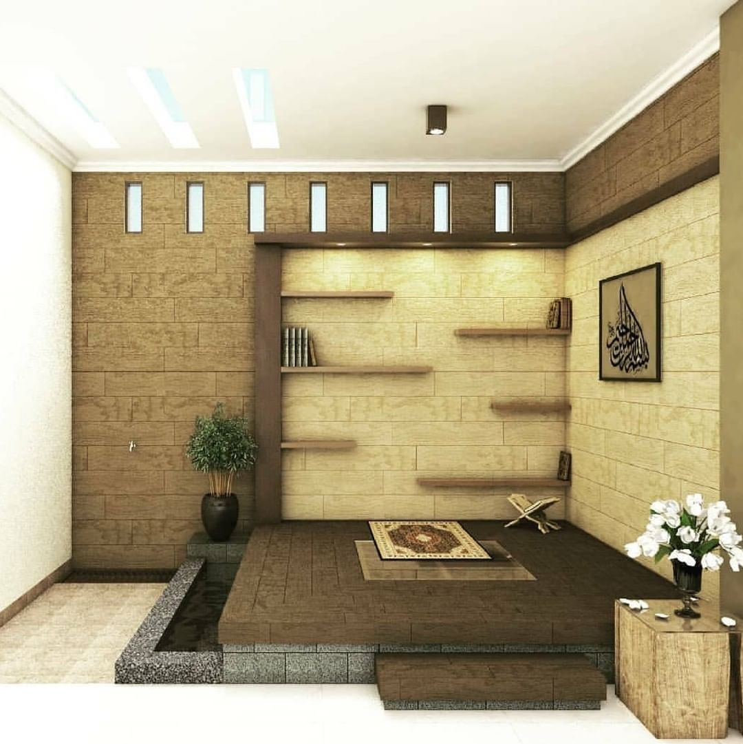 Desain Mushola Minimalis Dalam Rumah Bernuasa Coklat
