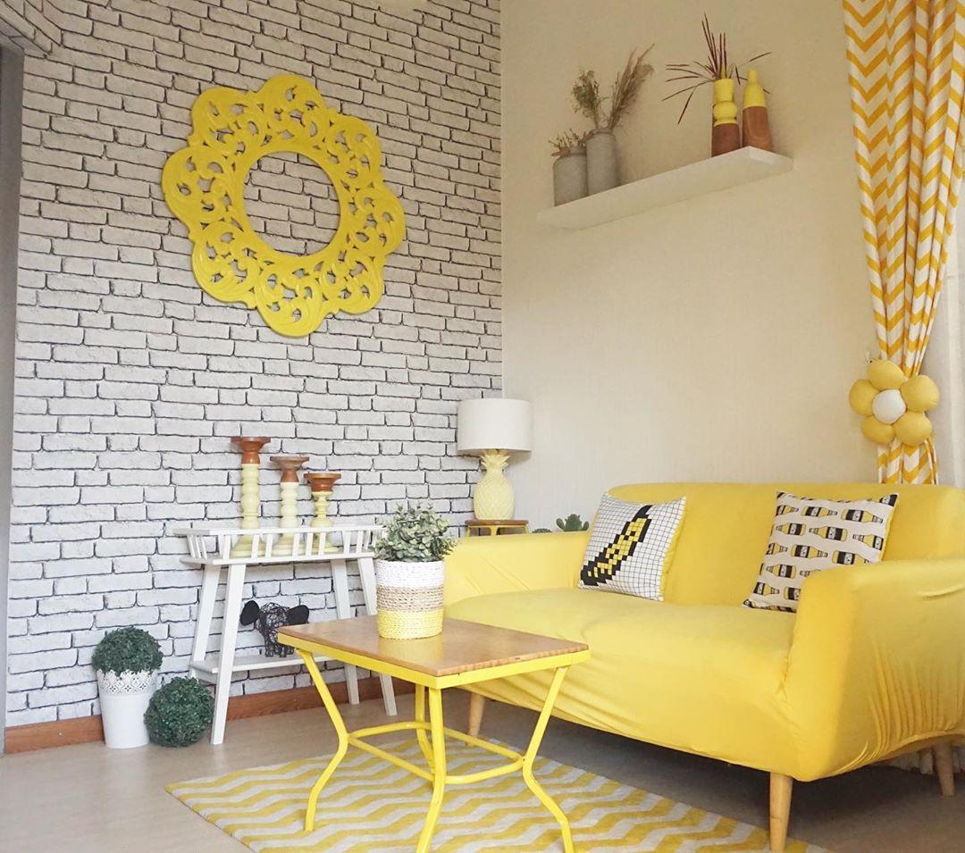 Wallpaper Dinding Ruang Tamu Minimalis Motif Batu Bata Menarik