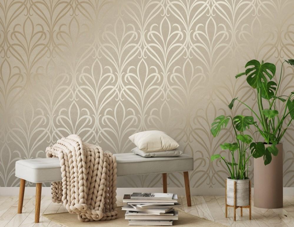 Wallpaper Dinding Ruang Tamu Minimalis Motif Elegan