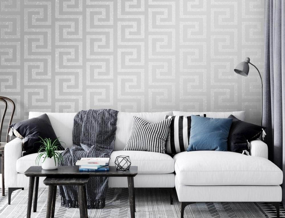 Wallpaper Dinding Ruang Tamu Minimalis Motif Geometri Memberi Kesan Elegan