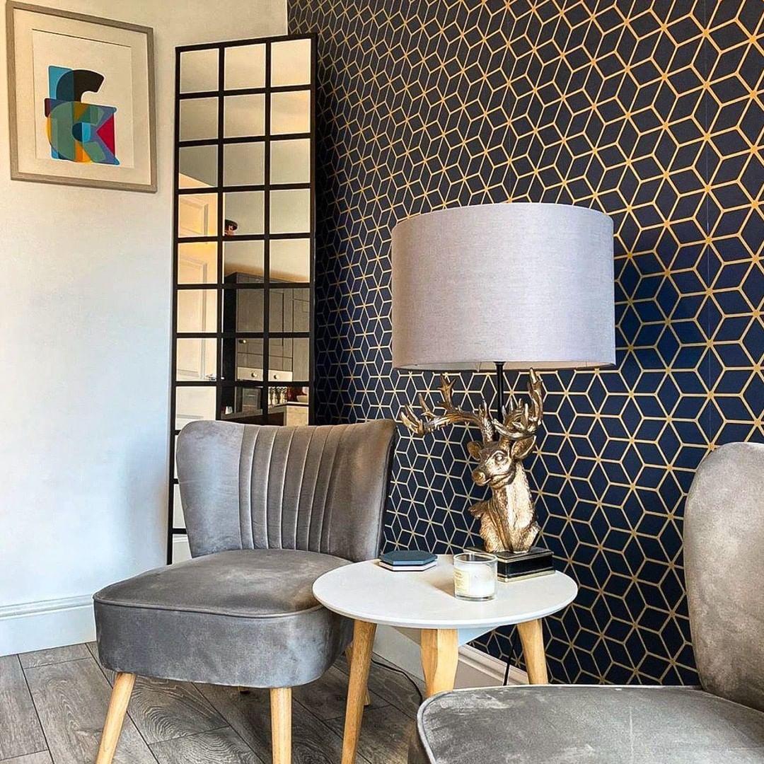 Wallpaper Dinding Ruang Tamu Minimalis Motif Geometri Warna Biru