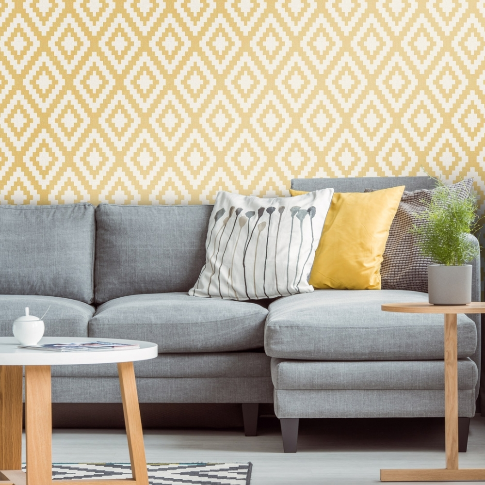 Wallpaper Dinding Ruang Tamu Minimalis Motif Geometri Warna Kuning