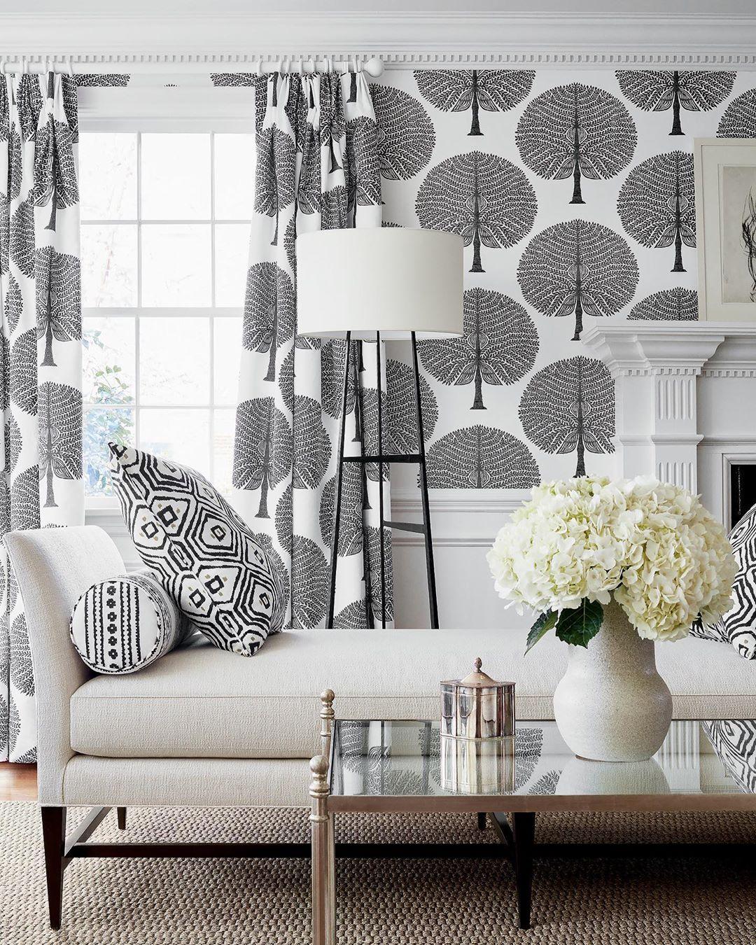 Wallpaper Dinding Ruang Tamu Minimalis Motif Pepohonan