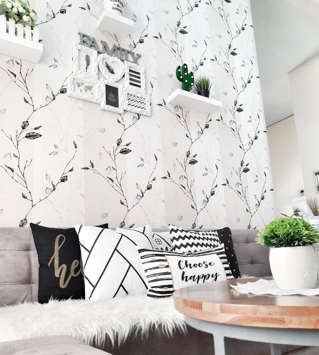 Wallpaper Dinding Ruang Tamu Minimalis Motif Pohon