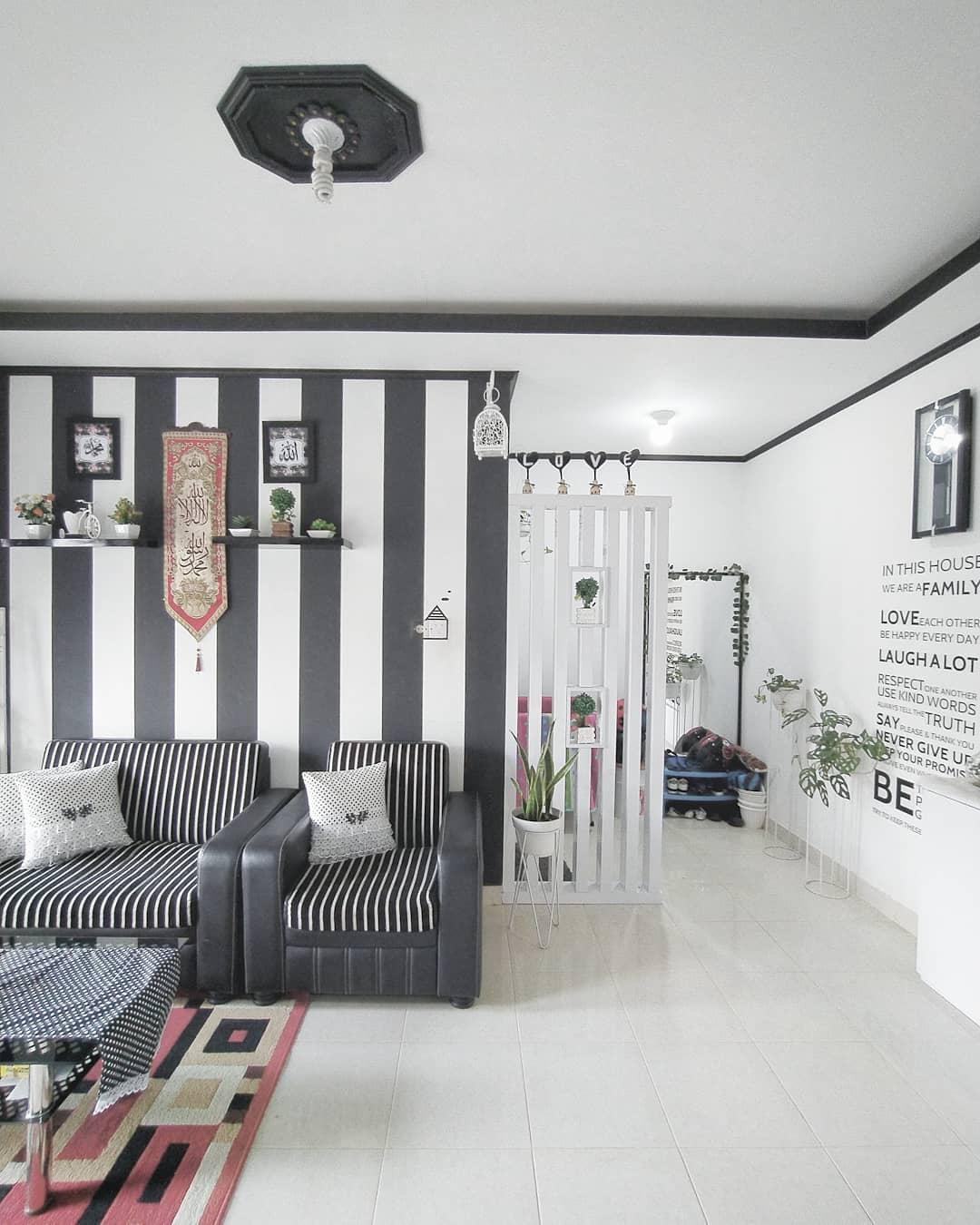 Warna Cat Tembok Ruang Tamu Yang Bagus Hitam Putih