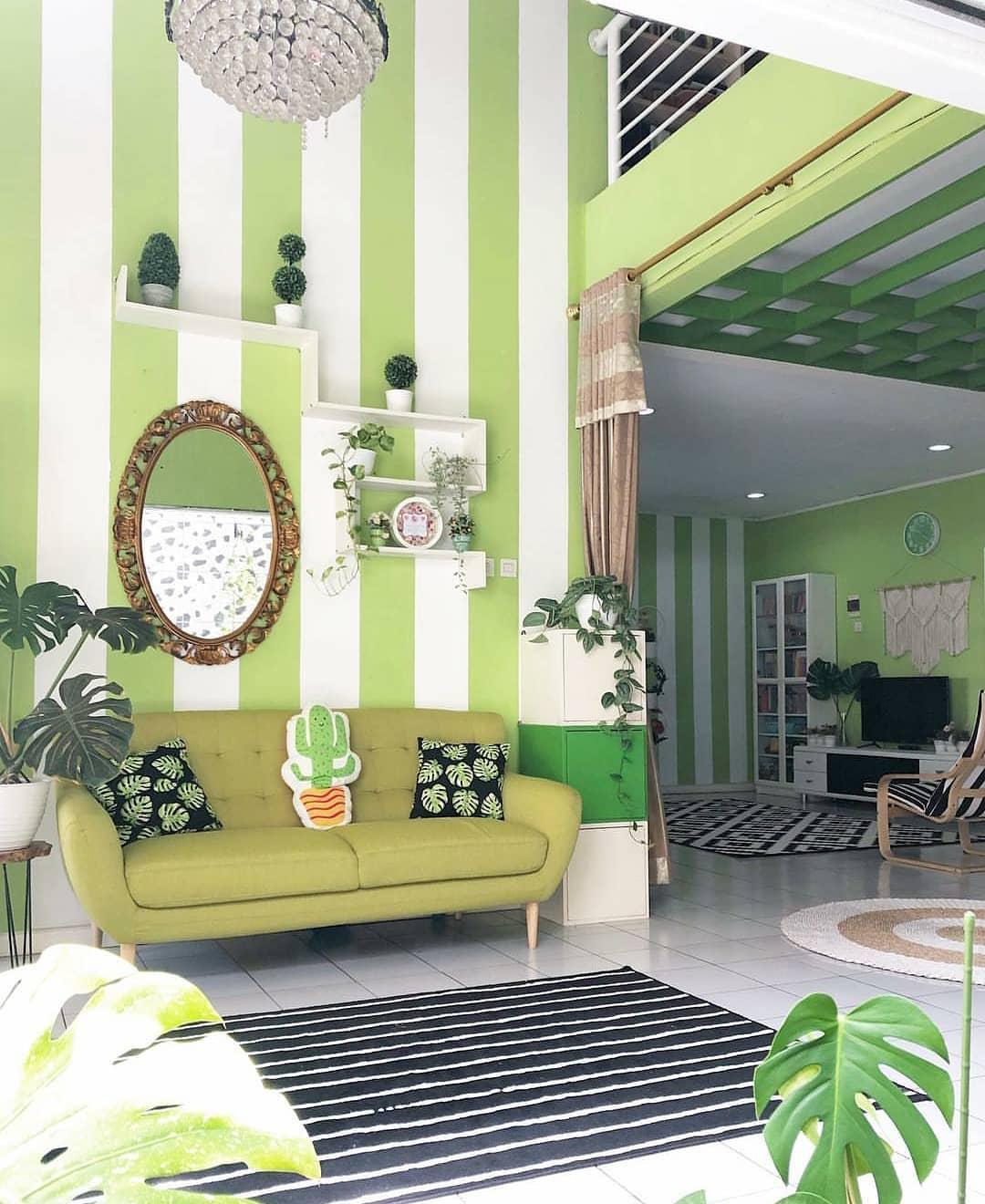 Warna Cat Tembok Ruang Tamu Yang Bagus Kombinasi Warna Hijau Putih