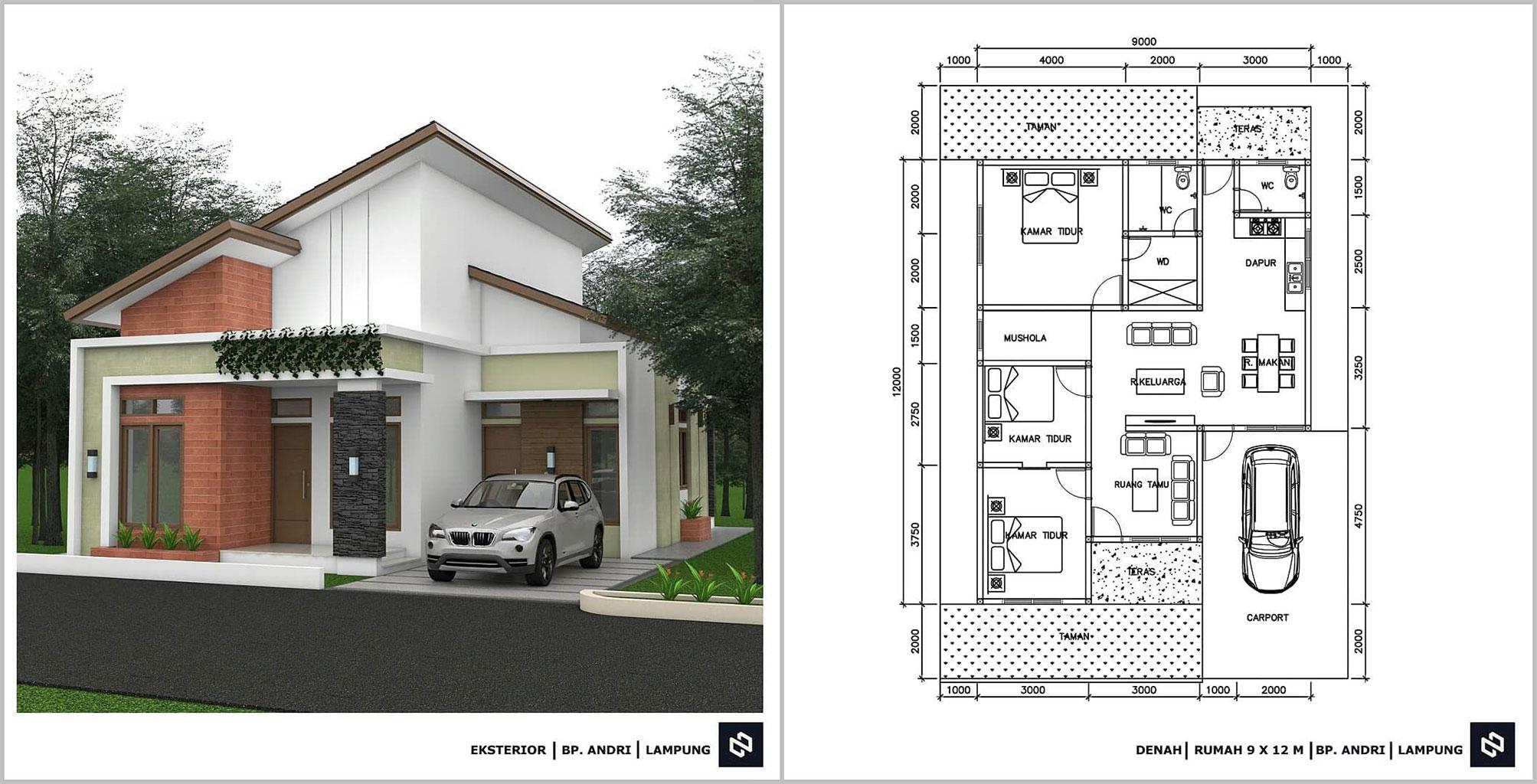 Denah Rumah Minimalis 3 Kamar Tidur 1 Lantai Terbaru Beserta Keterangannya Ukuran 9 x 12 m