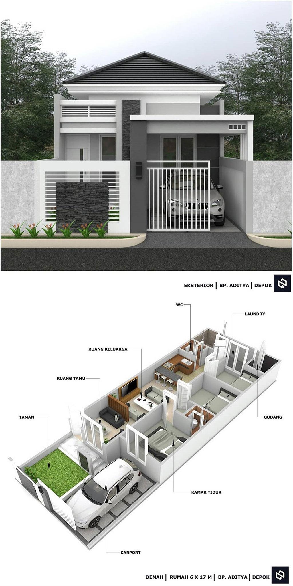Denah Rumah Minimalis 3 Kamar Tidur 6x17m 1 Lantai Beserta Keterangannya