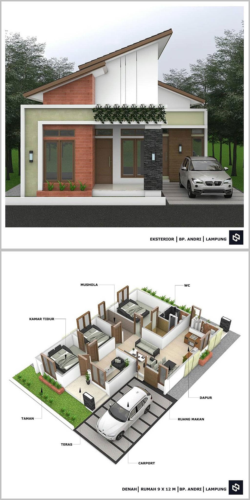 Gambar Denah Rumah Minimalis 3 Kamar Tidur 1 Lantai Terbaru Beserta Keterangannya Ukuran 9 x 12 m