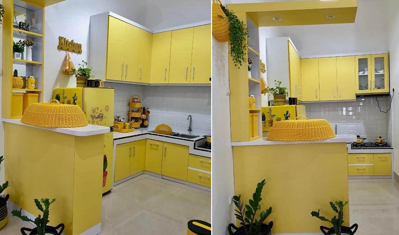 Kitchen Set Minimalis Dapur Kecil Warna Kuning Terbaru