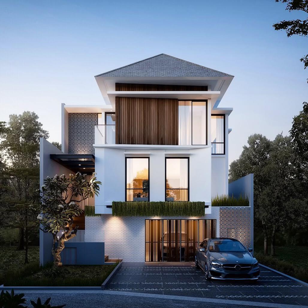 Tampak Depan Rumah Minimalis 2 Lantai Lebar 7 Meter