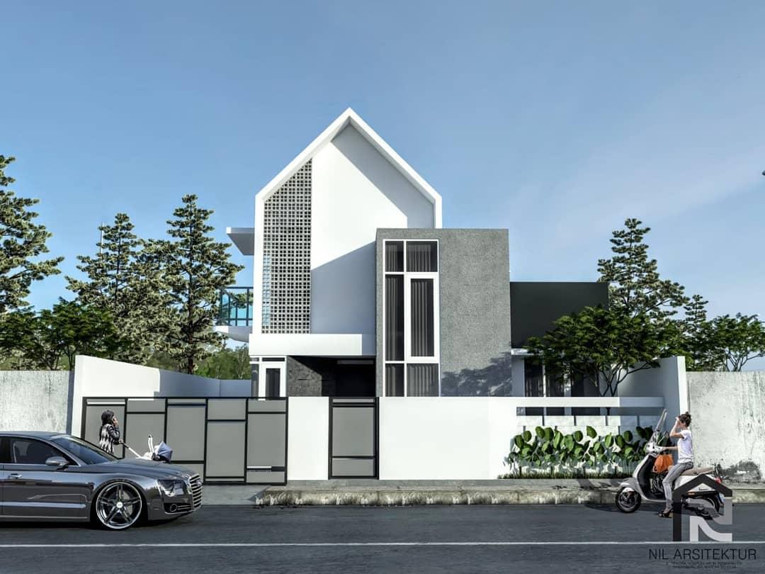 Tampak Depan Rumah Minimalis 2 Lantai Lebar 8 Meter Terbaru