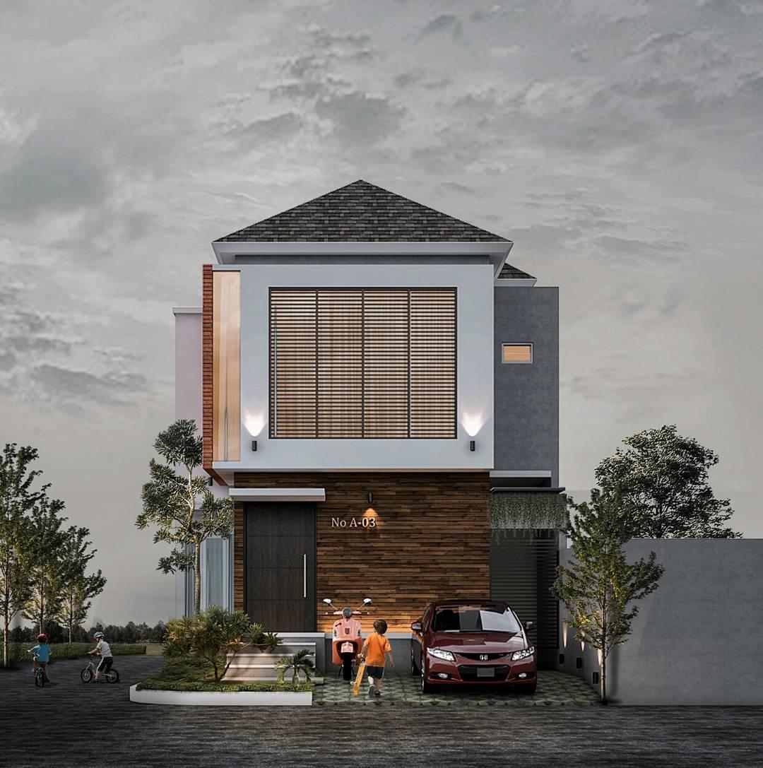 Tampak Depan Rumah Minimalis 2 Lantai Lebar 8 Meter